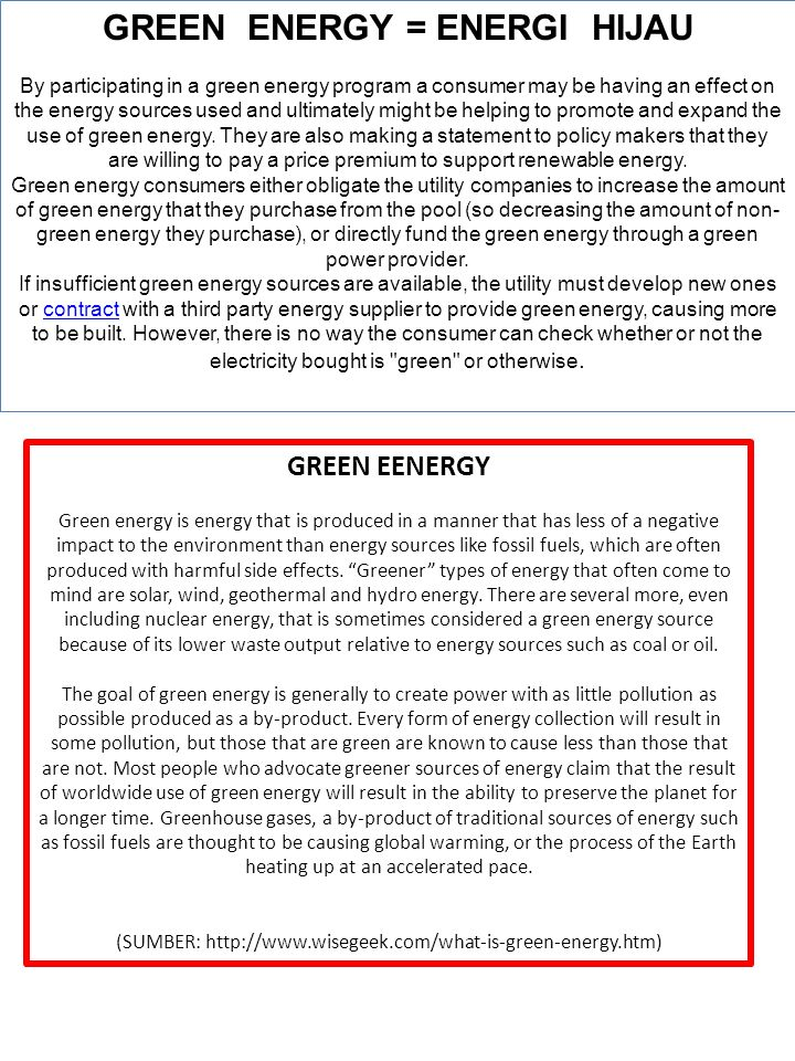 GREEN ENERGY = ENERGI HIJAU