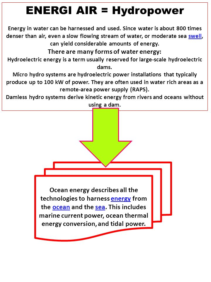 ENERGI AIR = Hydropower There are many forms of water energy: