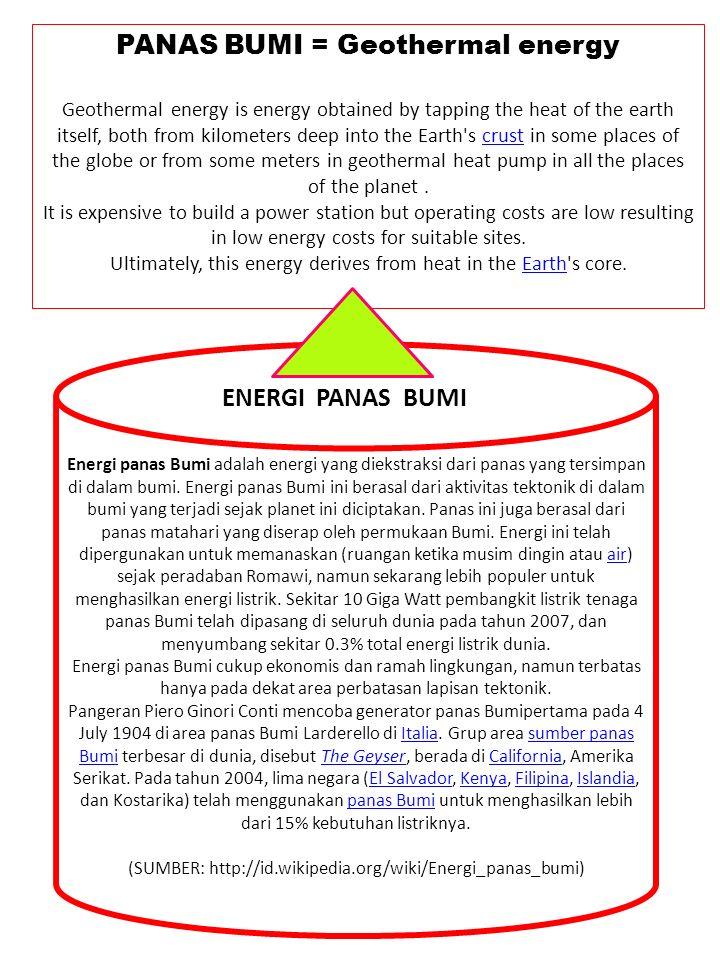PANAS BUMI = Geothermal energy