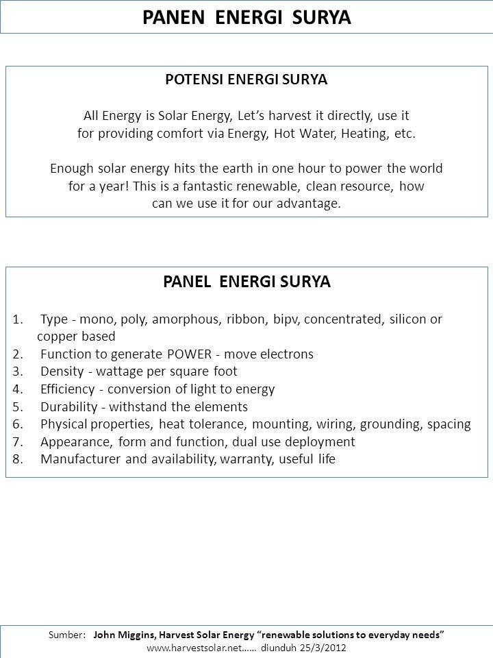 PANEN ENERGI SURYA PANEL ENERGI SURYA POTENSI ENERGI SURYA