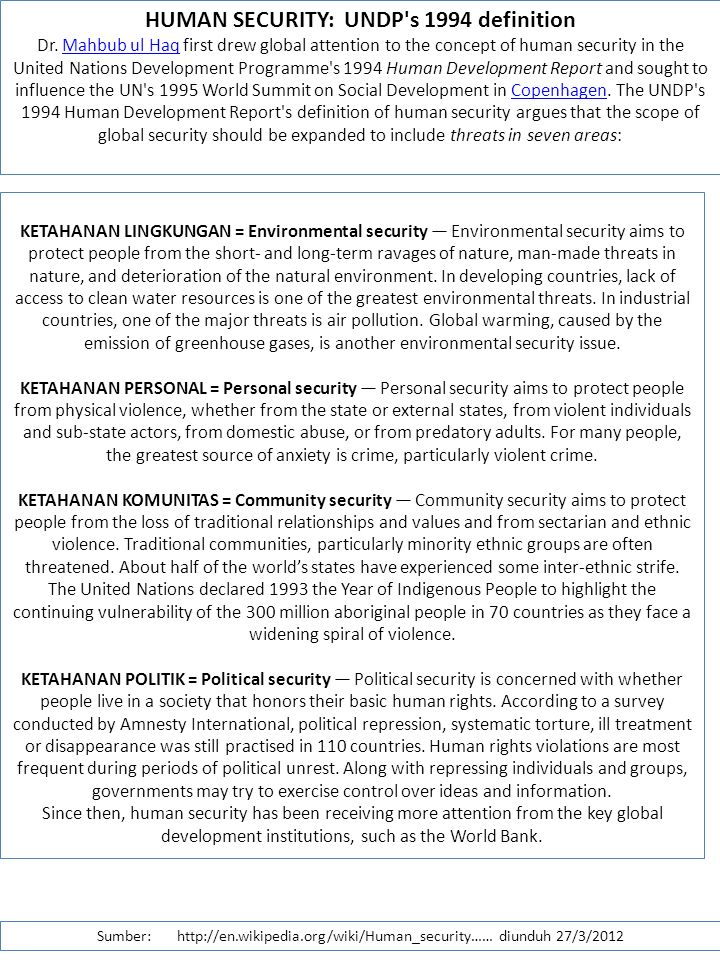 HUMAN SECURITY: UNDP s 1994 definition