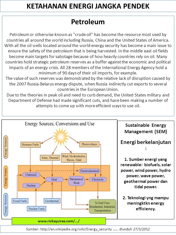 KETAHANAN ENERGI JANGKA PENDEK Petroleum