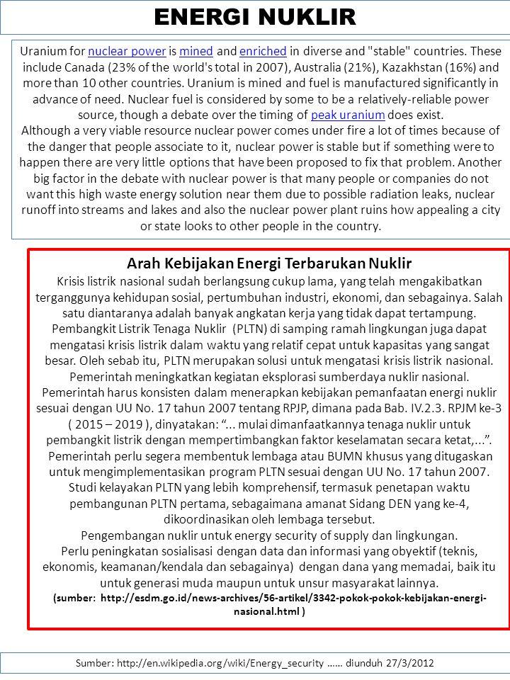 Pengembangan nuklir untuk energy security of supply dan lingkungan.