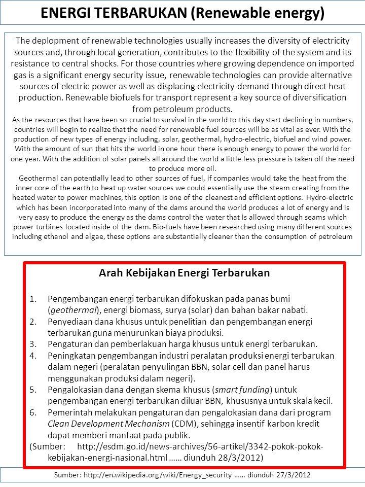 ENERGI TERBARUKAN (Renewable energy) Arah Kebijakan Energi Terbarukan