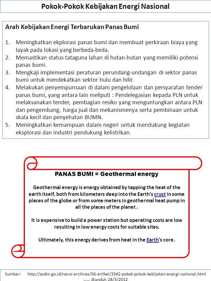 Pokok-Pokok Kebijakan Energi Nasional