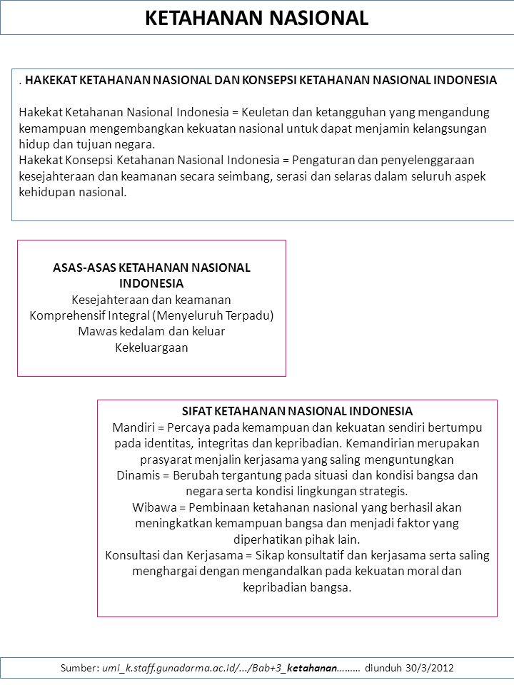 KETAHANAN NASIONAL . HAKEKAT KETAHANAN NASIONAL DAN KONSEPSI KETAHANAN NASIONAL INDONESIA.