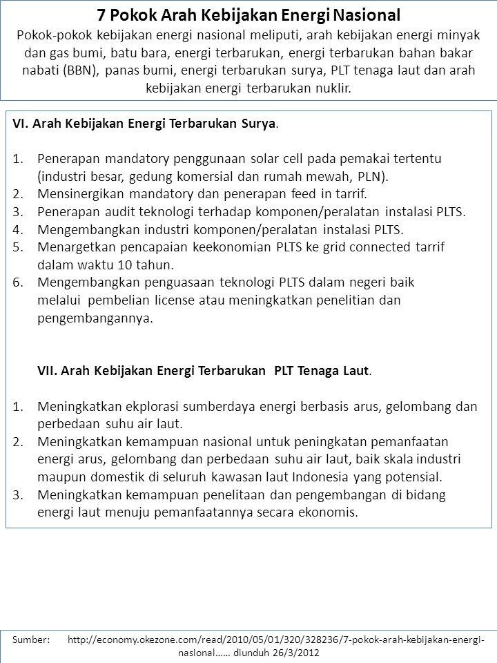 7 Pokok Arah Kebijakan Energi Nasional