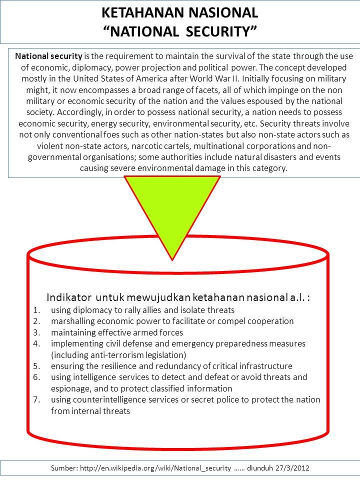 Indikator untuk mewujudkan ketahanan nasional a.l. :