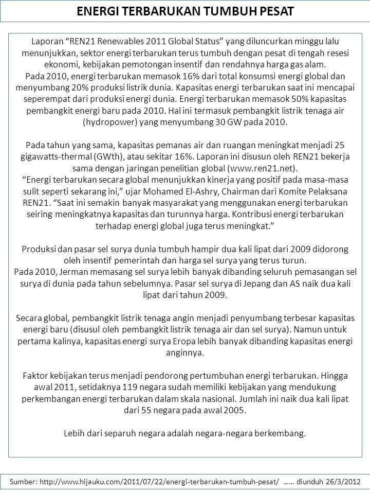 ENERGI TERBARUKAN TUMBUH PESAT