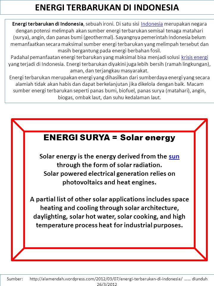 ENERGI TERBARUKAN DI INDONESIA ENERGI SURYA = Solar energy
