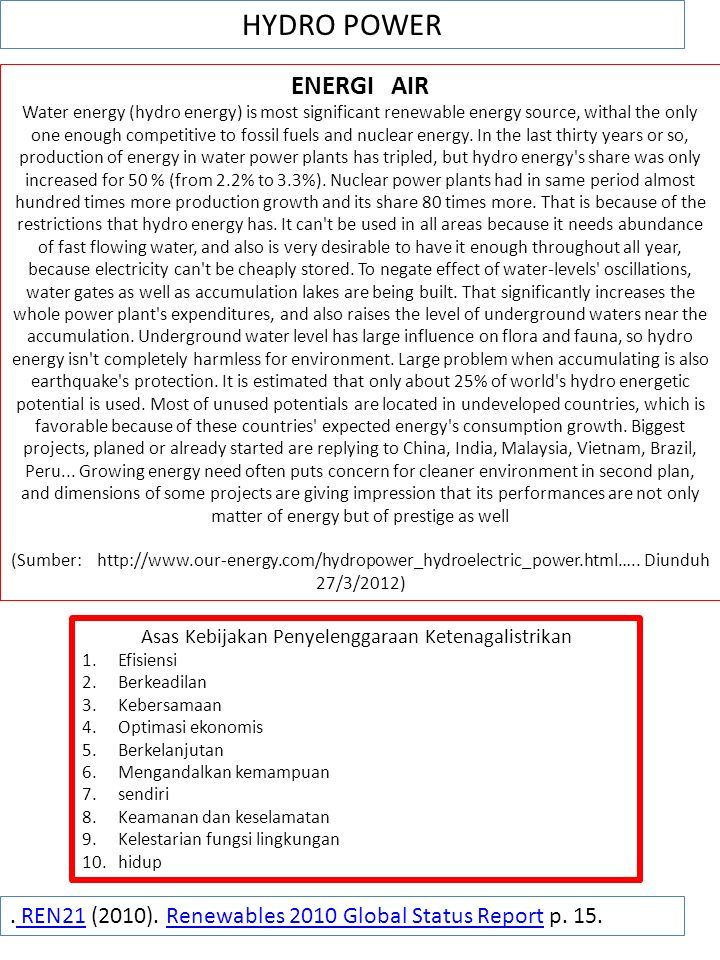 Asas Kebijakan Penyelenggaraan Ketenagalistrikan