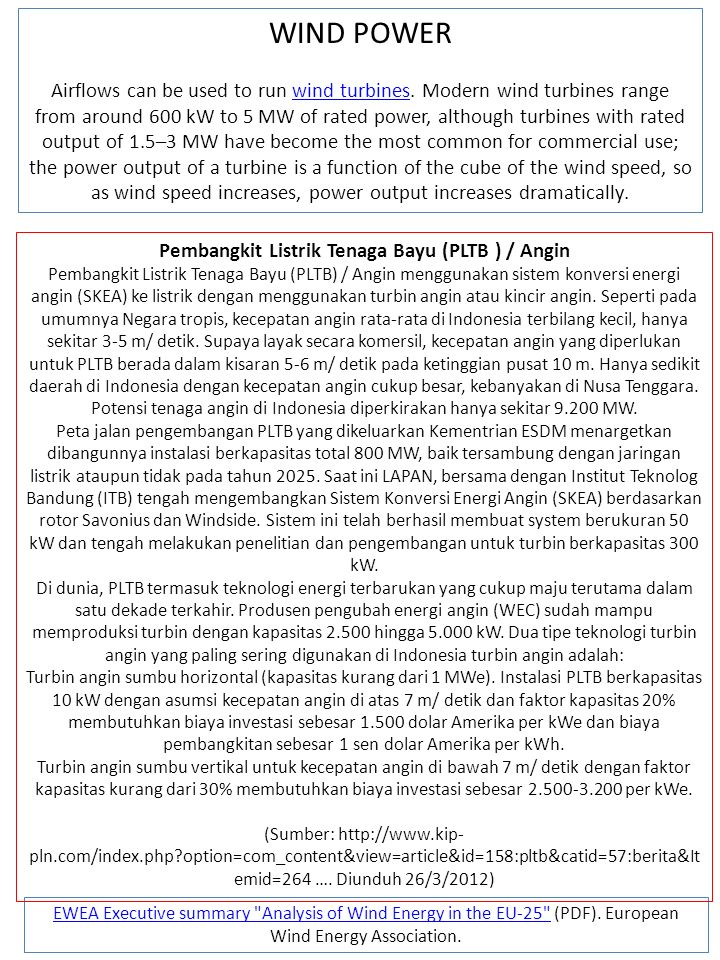 Pembangkit Listrik Tenaga Bayu (PLTB ) / Angin