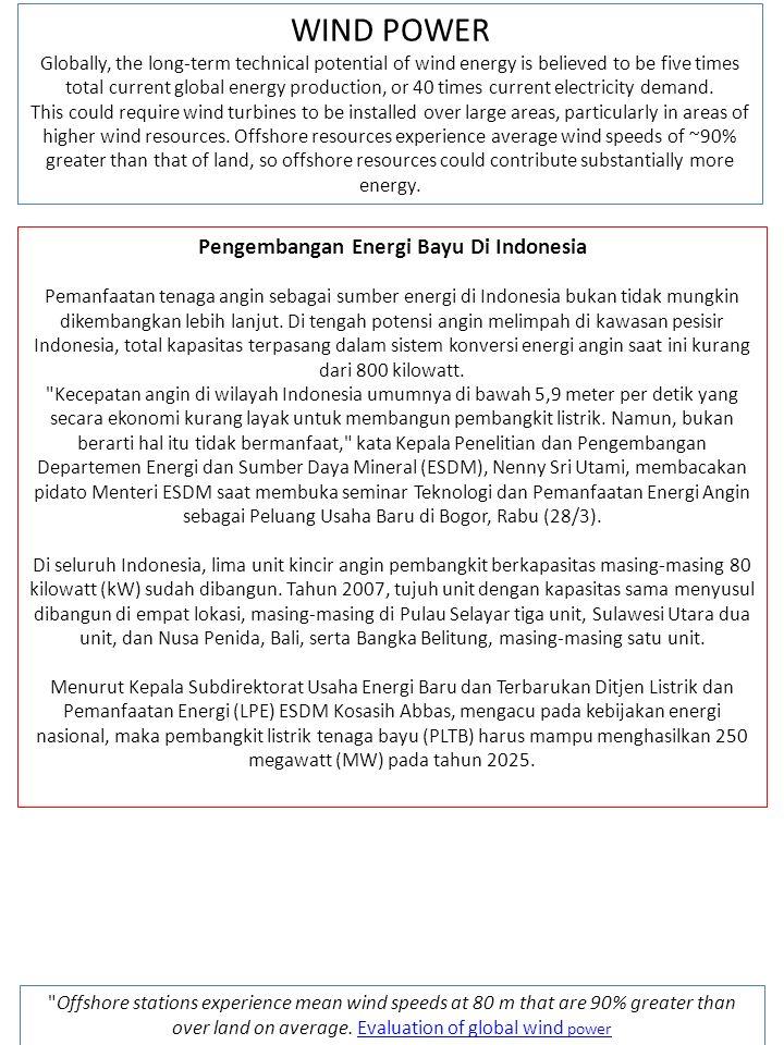 Pengembangan Energi Bayu Di Indonesia