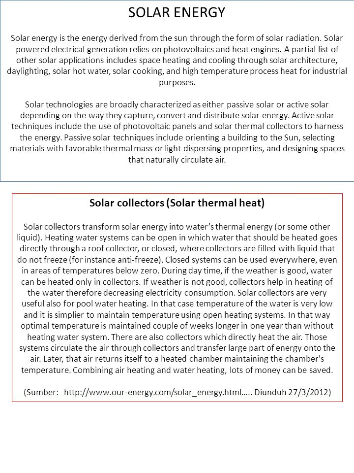 Solar collectors (Solar thermal heat)