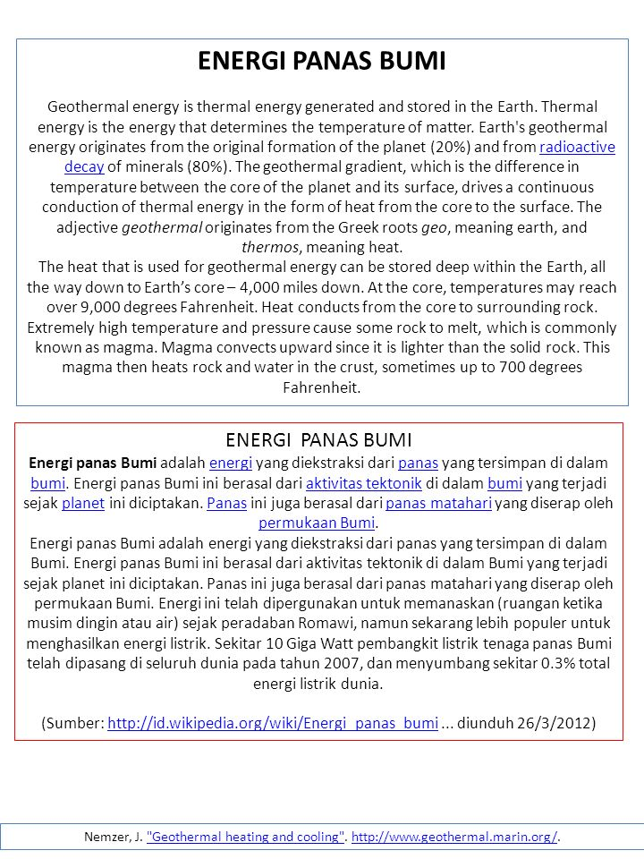 ENERGI PANAS BUMI ENERGI PANAS BUMI