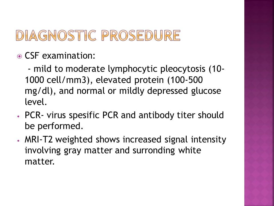 Diagnostic prosedure CSF examination:
