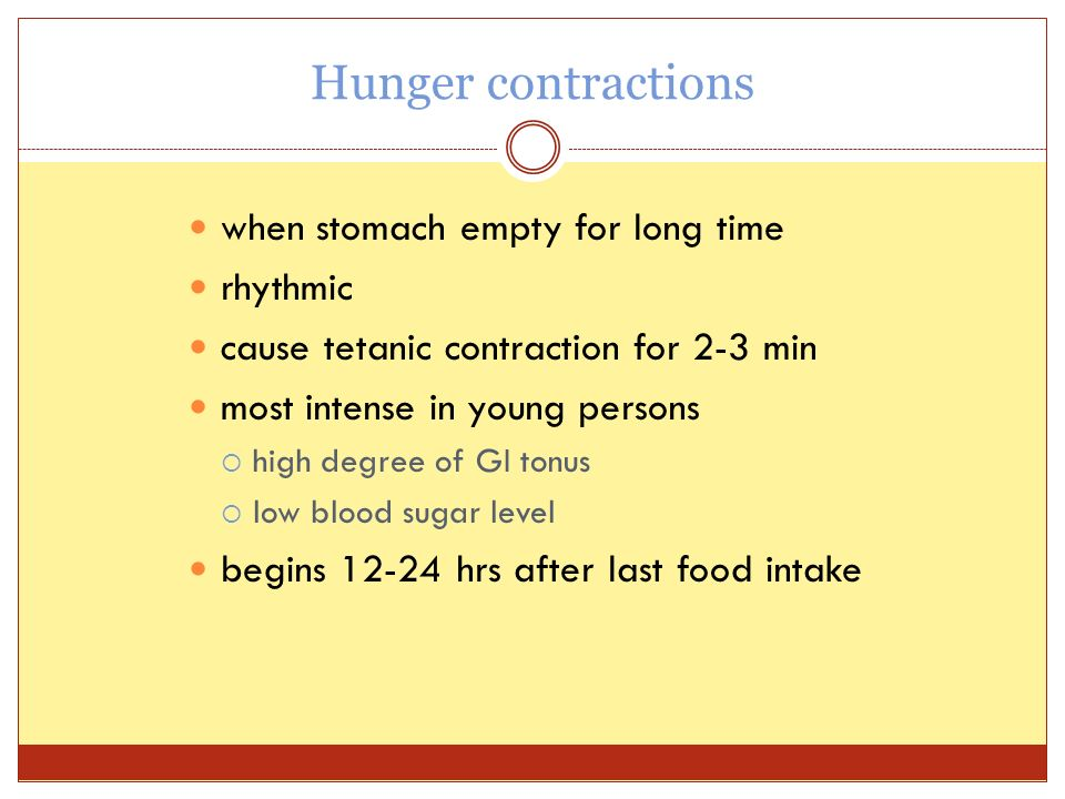 Hunger contractions when stomach empty for long time rhythmic