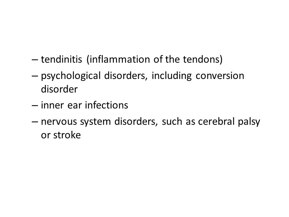 tendinitis (inflammation of the tendons)