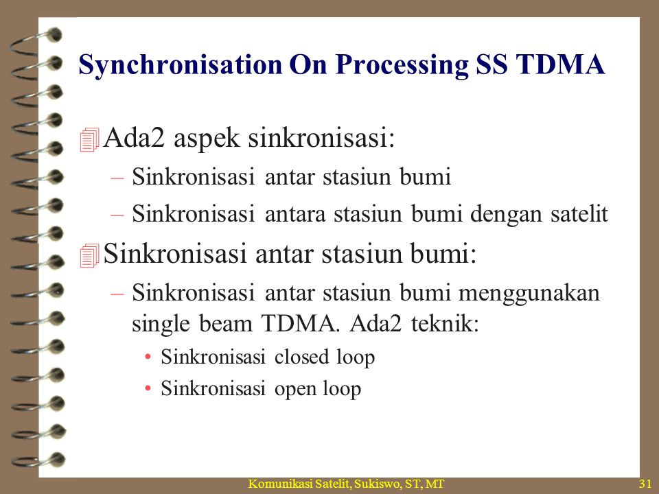 Synchronisation On Processing SS TDMA