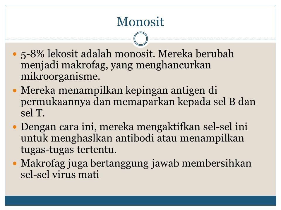 Monosit 5-8% lekosit adalah monosit. Mereka berubah menjadi makrofag, yang menghancurkan mikroorganisme.
