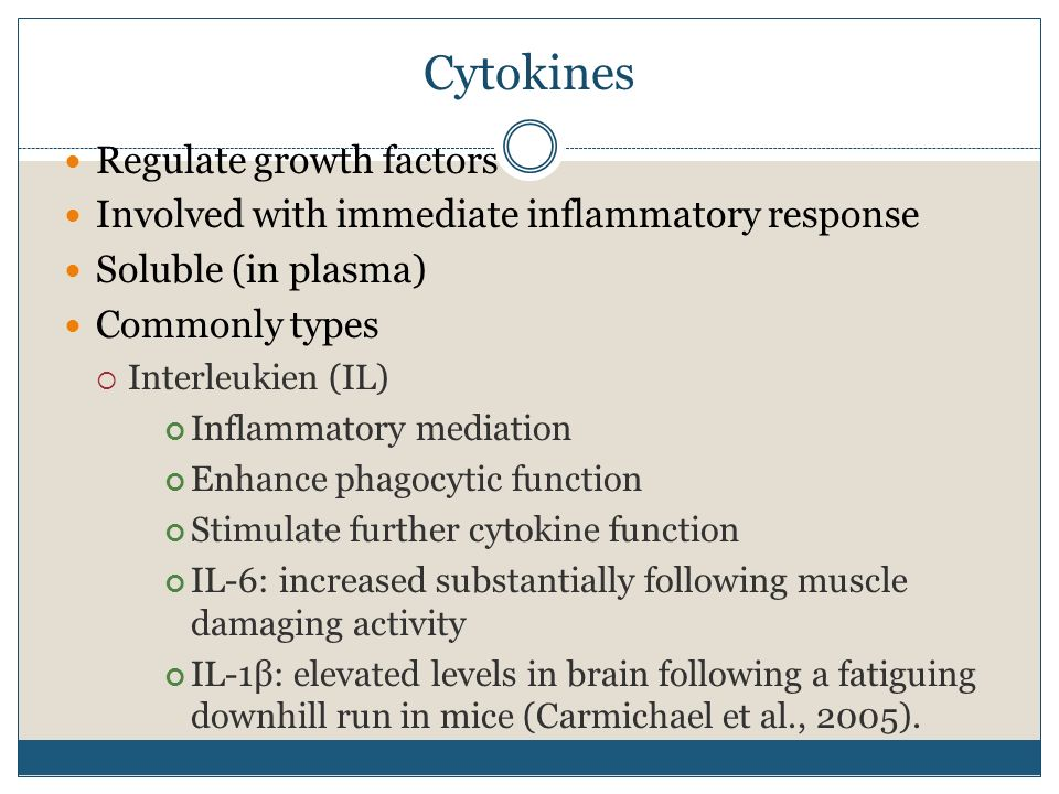 Cytokines Regulate growth factors