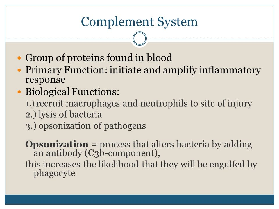 Complement System Group of proteins found in blood