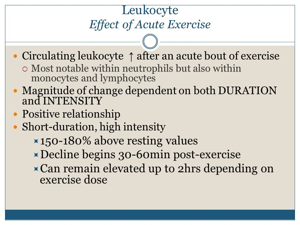 Leukocyte Effect of Acute Exercise