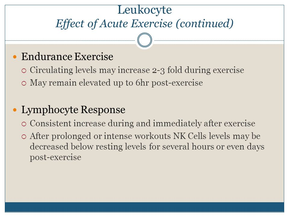 Leukocyte Effect of Acute Exercise (continued)