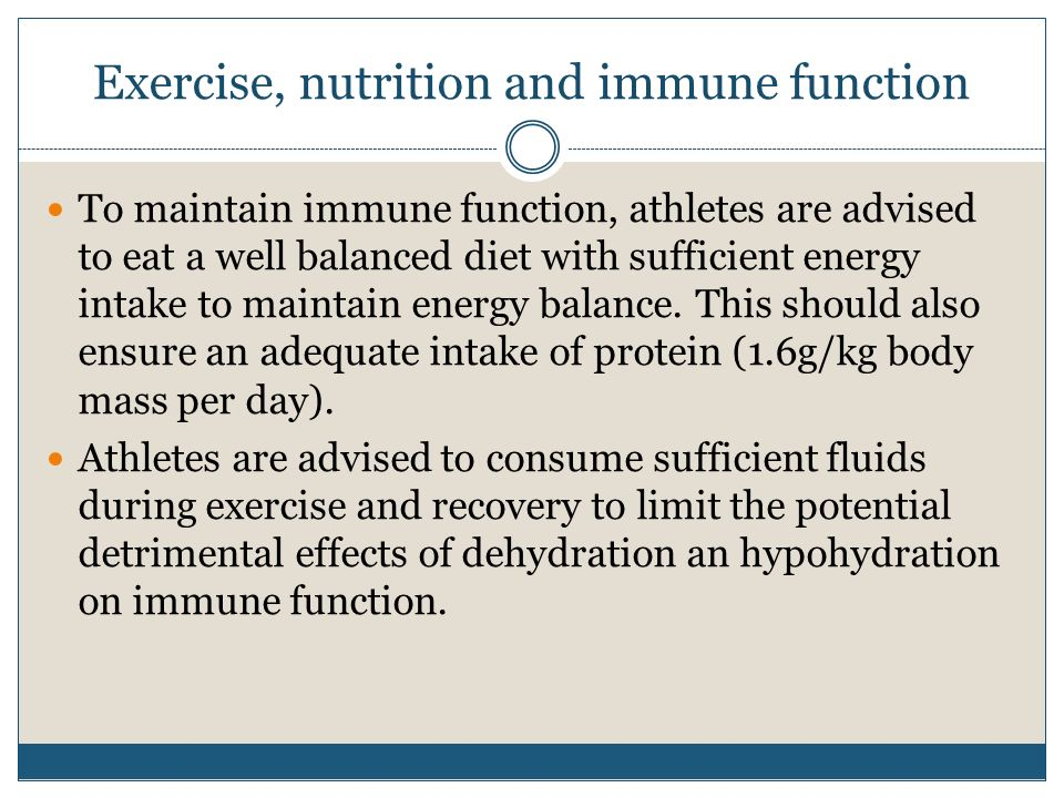 Exercise, nutrition and immune function