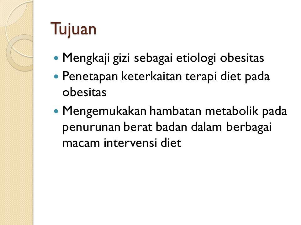 Tujuan Mengkaji gizi sebagai etiologi obesitas
