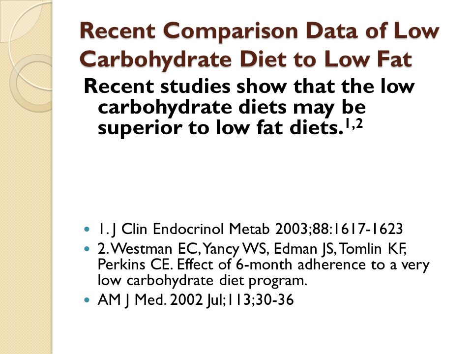 Recent Comparison Data of Low Carbohydrate Diet to Low Fat