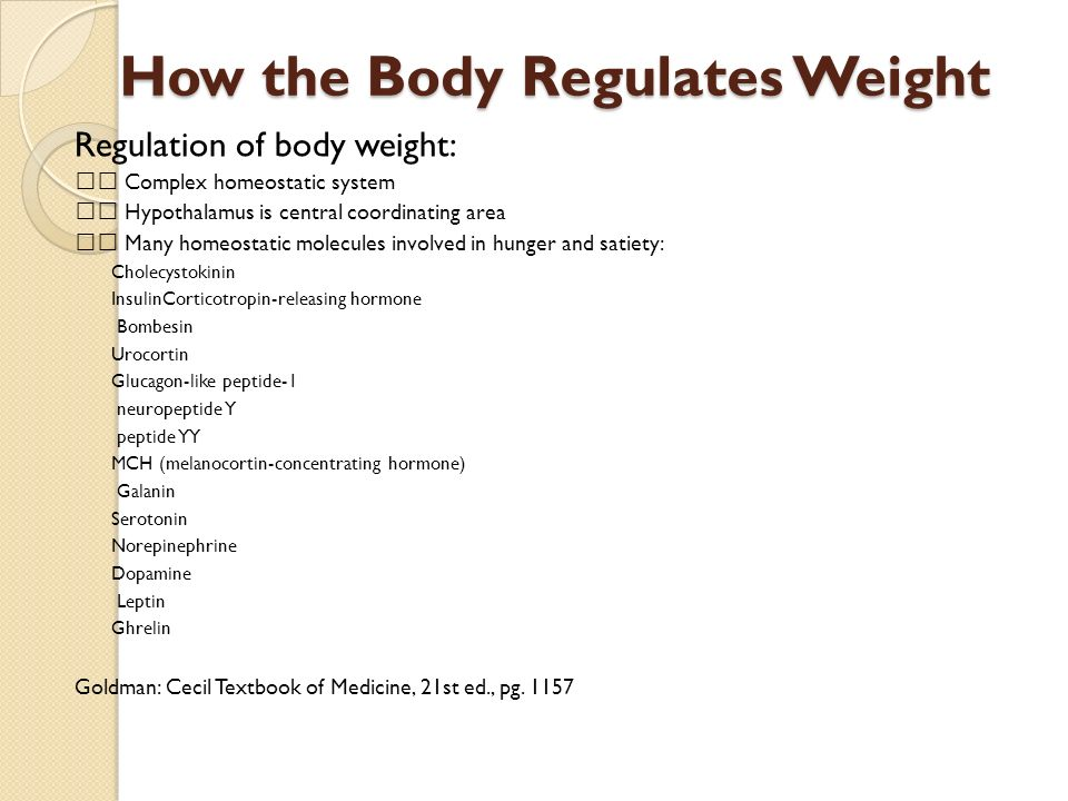 How the Body Regulates Weight