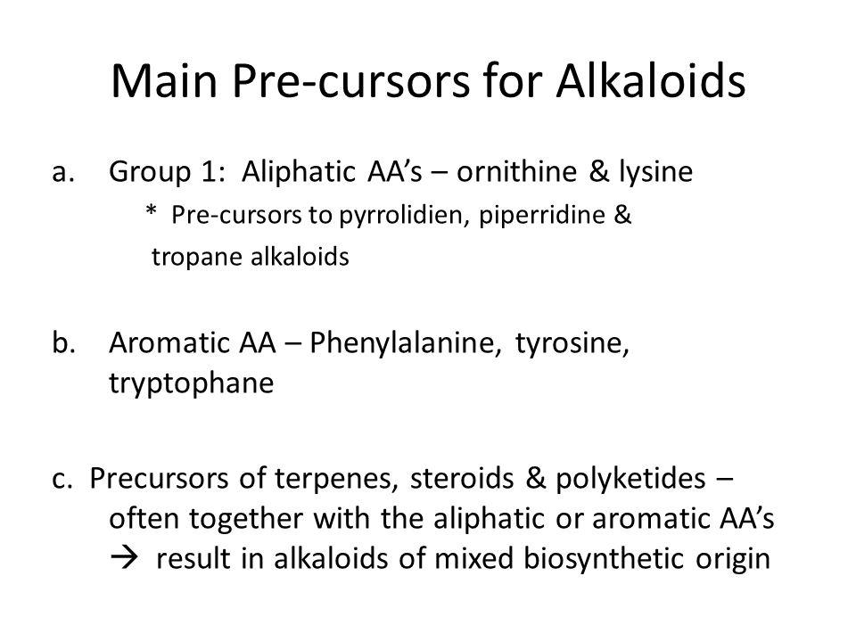Main Pre-cursors for Alkaloids
