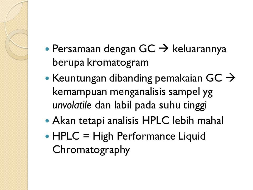 Persamaan dengan GC  keluarannya berupa kromatogram