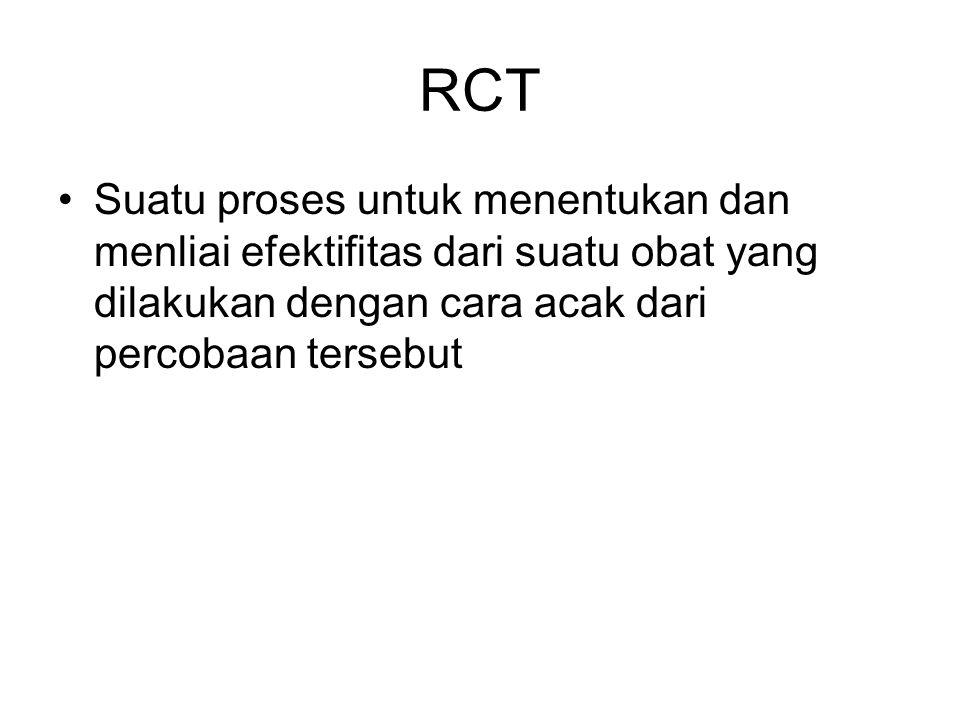 RCT Suatu proses untuk menentukan dan menliai efektifitas dari suatu obat yang dilakukan dengan cara acak dari percobaan tersebut.