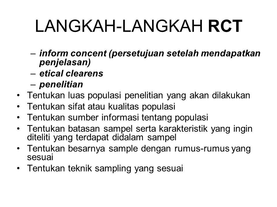 LANGKAH-LANGKAH RCT inform concent (persetujuan setelah mendapatkan penjelasan) etical clearens. penelitian.