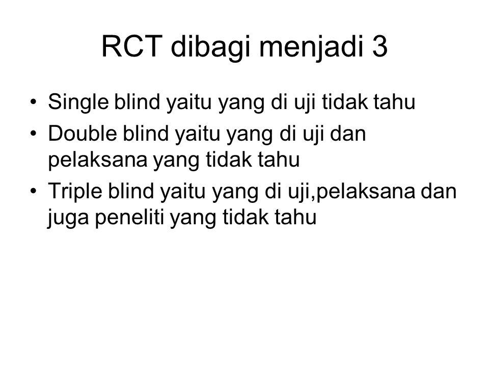 RCT dibagi menjadi 3 Single blind yaitu yang di uji tidak tahu