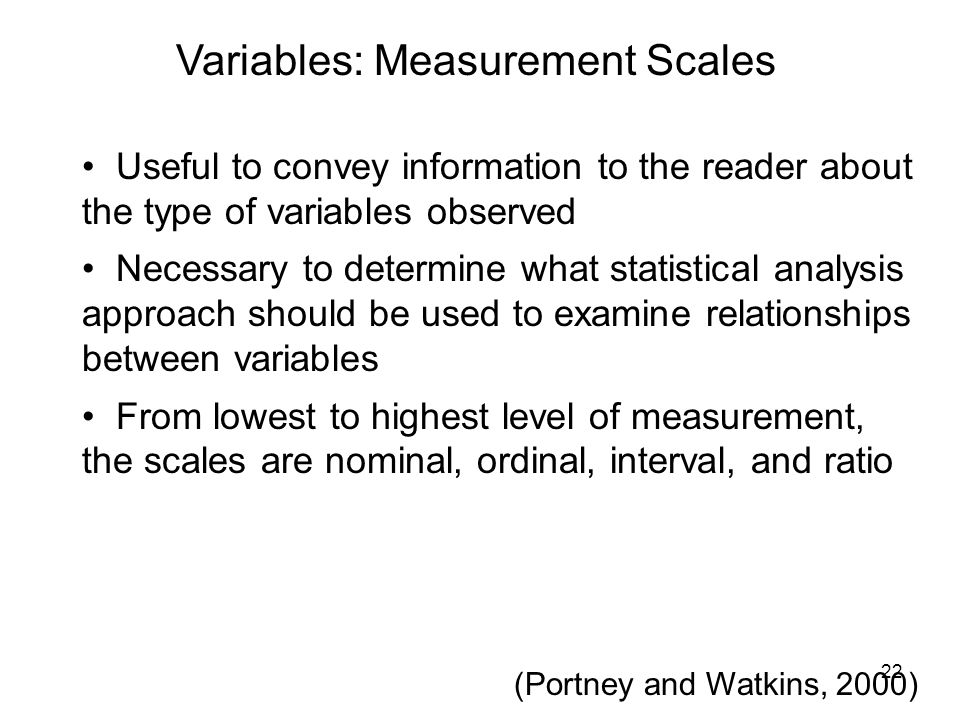 Variables: Measurement Scales