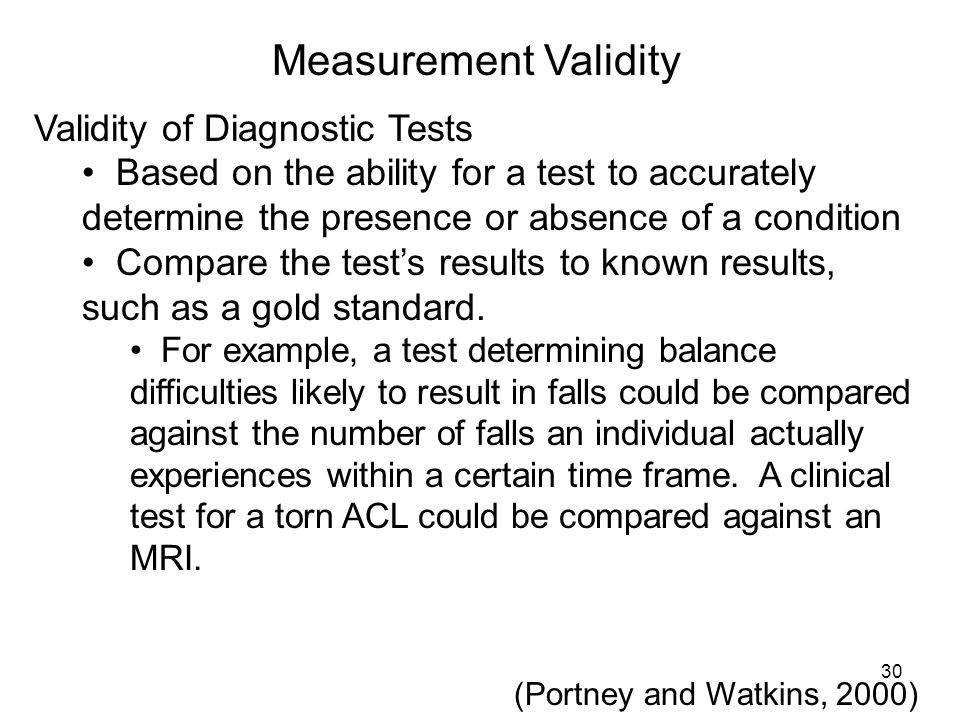 Measurement Validity Validity of Diagnostic Tests