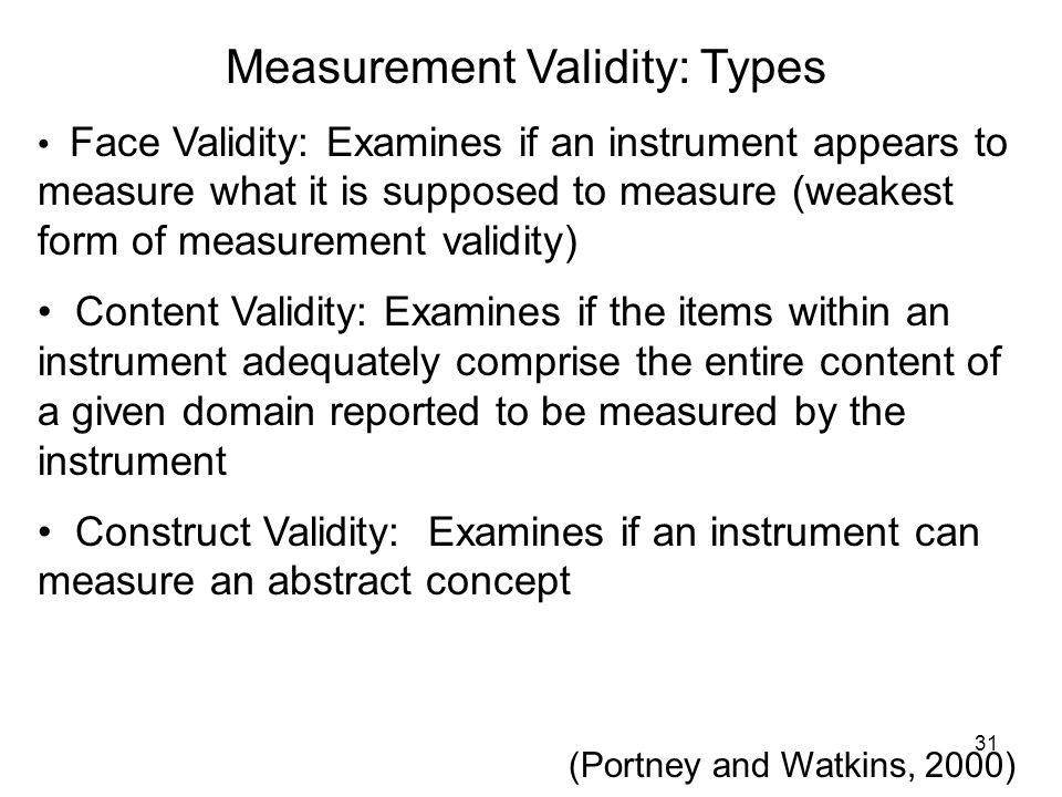 Measurement Validity: Types