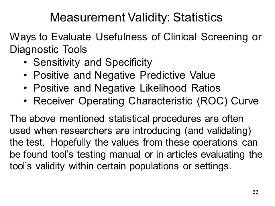 Measurement Validity: Statistics