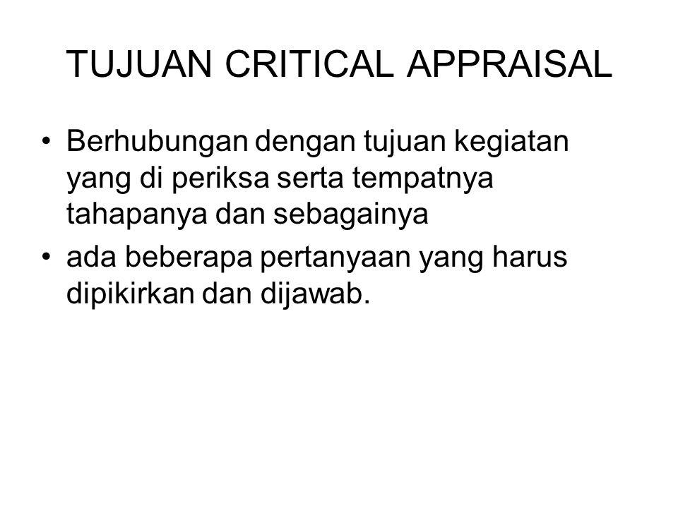 TUJUAN CRITICAL APPRAISAL
