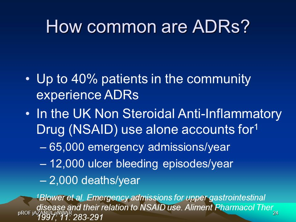 How common are ADRs Up to 40% patients in the community experience ADRs.