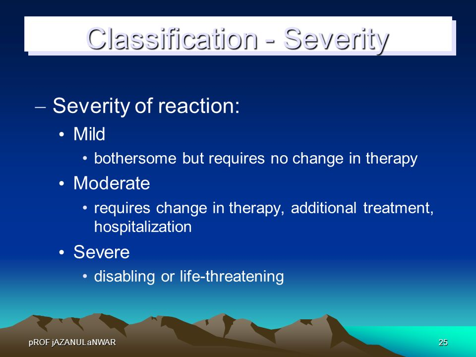 Classification - Severity