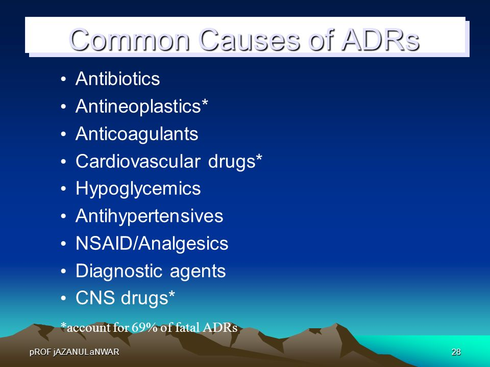 Common Causes of ADRs Antibiotics Antineoplastics* Anticoagulants