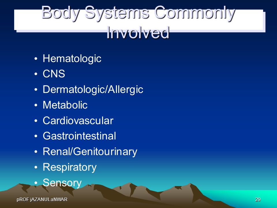 Body Systems Commonly Involved