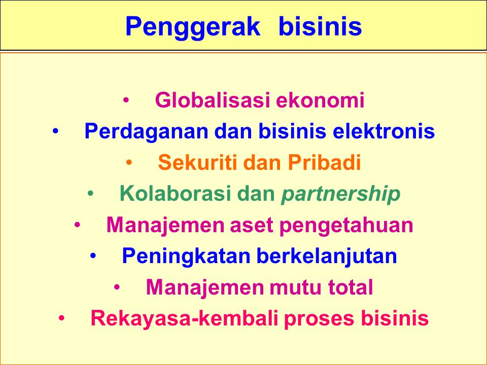 Penggerak bisinis Globalisasi ekonomi
