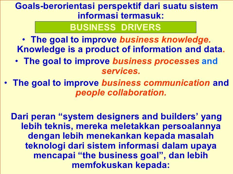Goals-berorientasi perspektif dari suatu sistem informasi termasuk: