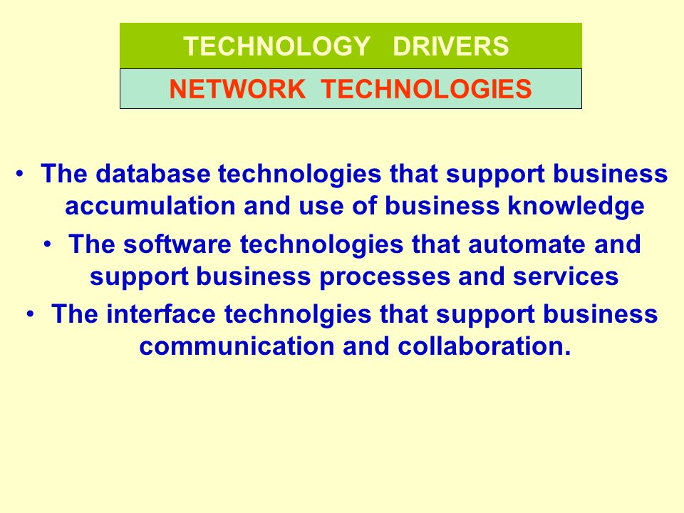 TECHNOLOGY DRIVERS NETWORK TECHNOLOGIES