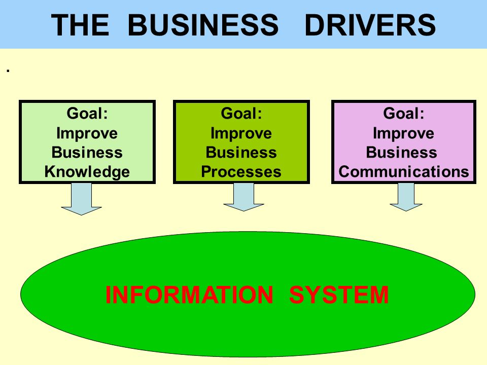 THE BUSINESS DRIVERS INFORMATION SYSTEM . Goal: Improve Business